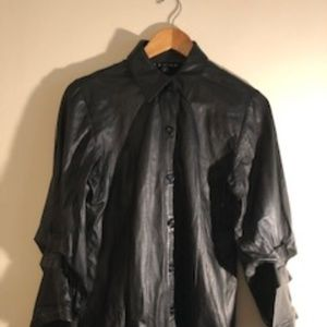 Vintage Leather Button Front Tulip Sleeve Shirt